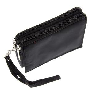 Stofftasche Handy Tasche Quertasche Fashionline mit zwei Reissverschlüssen und einem Fach mit Klettverschluss schwarz für Apple iPhone iPhone 2G iPhone 3G iPhone 3GS iPhone 4 iPhone 4S