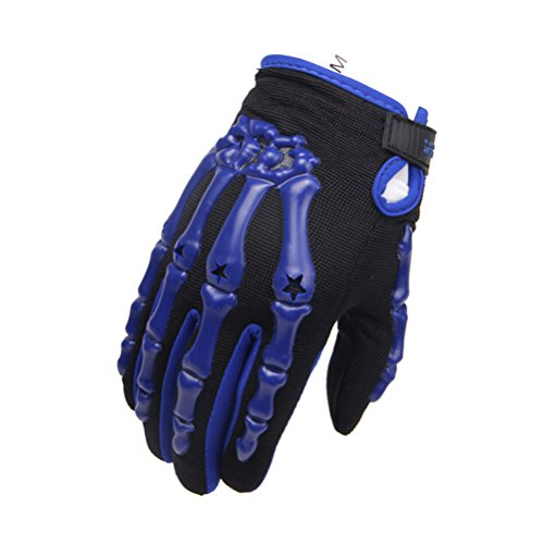 Men's Blue Full Finger Lining Knuckle Protect Motorcycle Cycling Racing Sports Gloves Breathable