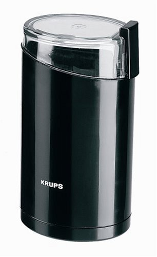 Krups 20342 Electric Coffee and Spice grinder with stainless steel blades, Black
