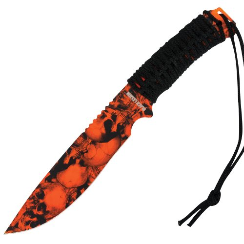 United Cutlery Bv158 Black Legion Mayhem Orange Skull Bowie Knife With Sheath