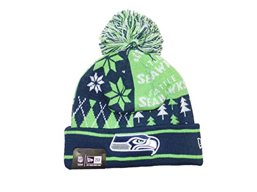 Seattle Seahawks Boxed Link Ugly Sweater Cuffed Knit Pom Hat