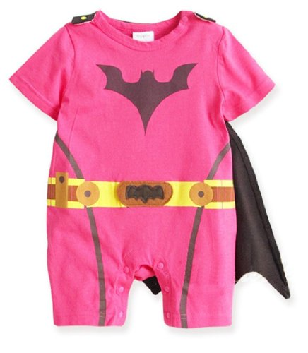 [Spiderman Superman Batman Batgirl Supergirl Baby Fancy Dress Outfit with Cape (70 (0-6month),] (Baby Batgirl Outfit)