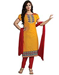 Surat Tex Orange & Red Color Party Wear Embroidered Cotton Un-Stitched Dress Material-G978DL2ZE