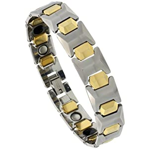 Tungsten Carbide Bracelet Magnetic Therapy, 2-Tone Gun Metal & Gold Faceted Bar Links, 1/2 inch wide, 7.75 inches long