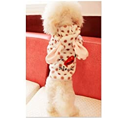 Demarkt Fashion Dog Cat Puppy Flannel Fleece Polka Dots Print Rabbit Shaped with Carrot Hoodie Costume Clothes Pet Apparel Superdog Dress Up Pet Supplies (S, White and Dots Coffee)