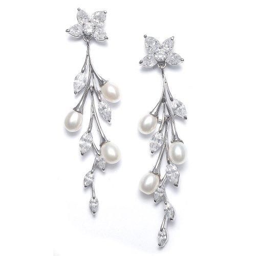 Cascading Freshwater Pearls & CZ Earrings