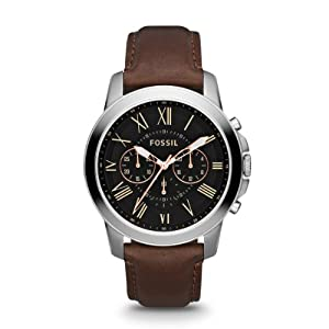 Fossil Men's Quartz Watch Grant FS4813 with Leather Strap