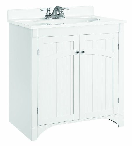 Design House 541565 30-Inch by 21-Inch Cottage Ready-To-Assemble 2 Door Vanity, White