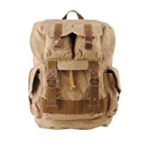 S.C.Cotton Leisure Canvas Leather Backpack Rucksack Satchel Bookbag Hiking Bag - Khaki by S.C.Cotton