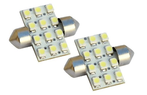 "2Pcs 31Mm 12-Smd 1.25"" 12V Festoon Dome Light Led Bulbs De3175 De3022 De3021 3175 - Blue"