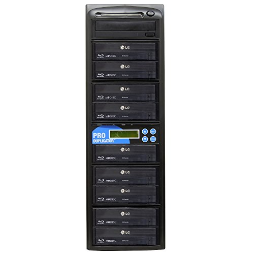 Produplicator 1 to 9 Blu-ray 14X BD BDXL M-Disc CD DVD Duplicator (with 500GB HDD, USB Connection and Nero Essentials CD/DVD Burning Software) Copier Tower Replication Recorder Burner