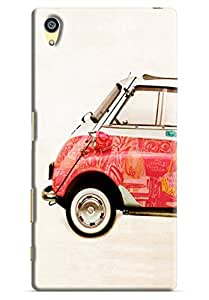 Omnam Colorful Car On Cream Effect Printed Designer Back Cover Case For Sony Xperia Z5 Premium