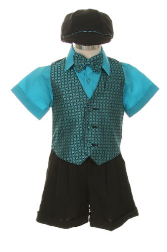 Dress Shorts Suit Tuxedo Outfit Set-Infant Baby Boys & Toddler, Turquoise Checks