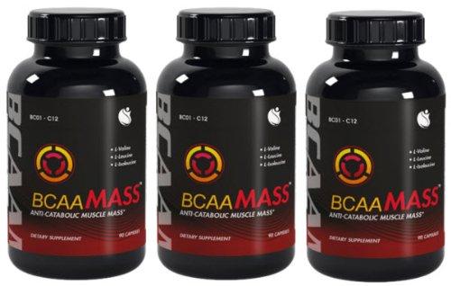 BCAA Mass Branched Chain Amino Acids L-Leucine L-Isoleucine L-Valine BCAA Ratio 4:1:1 270 Capsules 3 Bottles