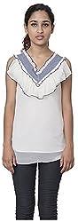 Izna Women's Slim Fit Top (IDWT107WH-Medium, White, Medium)