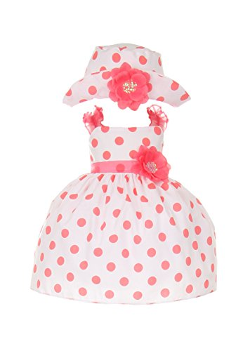 Cinderella Couture Baby Girls' Cotton Polka Dotted Dress Hat Coral 12M Med (1002