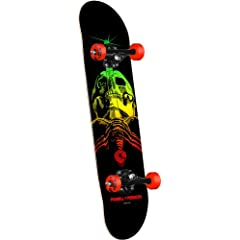 Buy Powell-Peralta Blacklight Skull and Sword Complete Skateboard, Red by Powell-Peralta