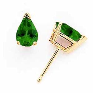 14k Gold Green Tourmaline Earrings