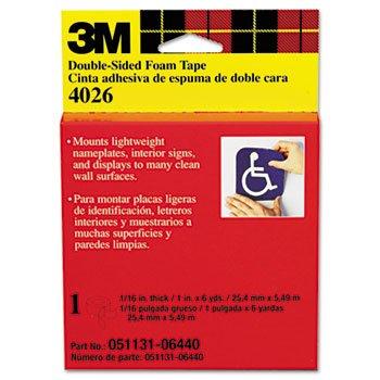 Scotch 4026 - Foam Mounting Double-Sided Tape, 1 Wide X 216 Long