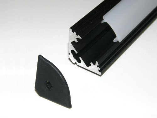 Aluminium Profile P3 For Led Strips / Tapes; Corner, Anodized Black Finish, With Transparent Cover And Two End Caps; 1M / 100Cm