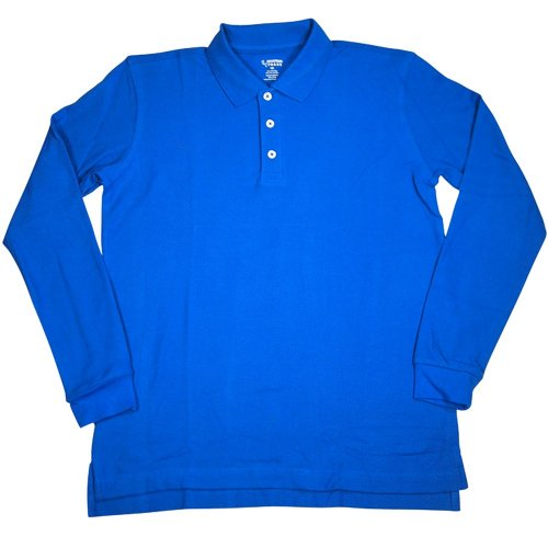 French Toast - Little Boys Long Sleeve Pique Polo, Royal 33361-6 front-892613