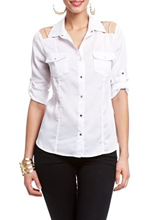 2B Cece 3/4 Sleeve Shirt 2b Woven Tops White-xl
