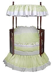 Baby Doll Regal Round Crib Bedding Set, Mint