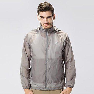 Herrenultradünne Ultraviolet Proof Sun Block atmen frei Haut-Mantel-Jacke Blau XL