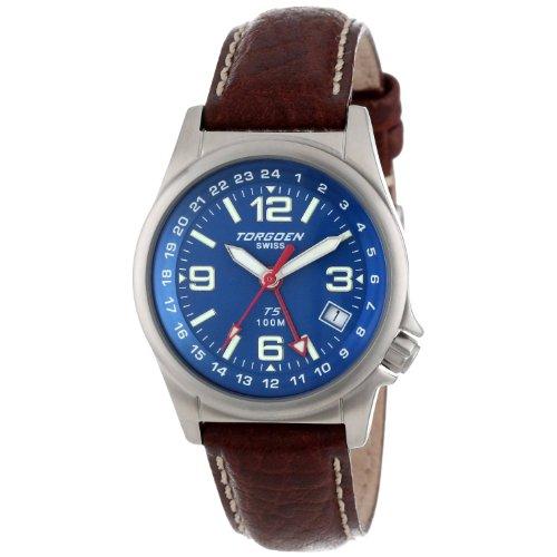 Torgoen - T05504 - Montre d'Aviateur Homme - Quartz Analogique - Cadran Bleu - Bracelet en Cuir Brun