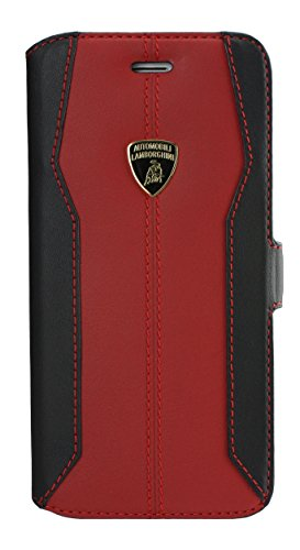 エアージェイ ランボルギーニ(Lamborghini)公式ライセンス品 iPhone6 4.7インチ専用 本革 手帳型ケース ウラカンD-1レッド LB-SSHFCIP6S-HU/D1RD