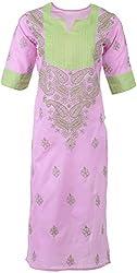 ALMAS Lucknow Chikan Women's Cotton Regular Fit Kurti (Mauve and Green)