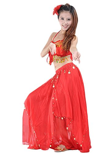 AveryDance Belly Dance Gold Coins Halter Bra Top with Skirt Costume Set