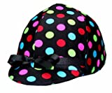 Equestrian Riding Helmet Cover - Black Polka Dots