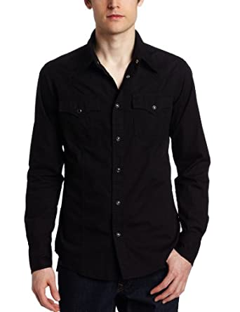 True Religion Mens Solid Poplin Western Shirt W/ Snaps Black S