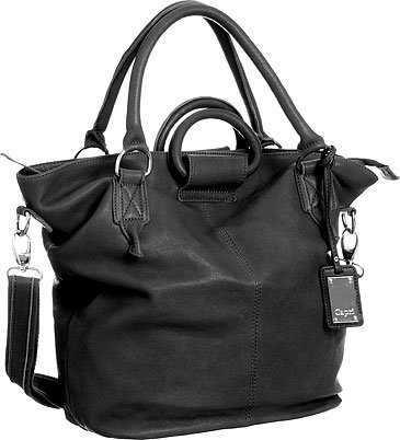 Black Capri Leather ''3Ways'' Crossbody Tote