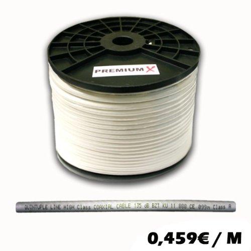 PremiumX Koaxial Kabel Sat Kabel 135dB 5-Fach geschirmt, REINES KUPFER CLASS A 100 Meter SAT Antennenkabel 100m 135dB FULLHD 3D Ultra HD Digital