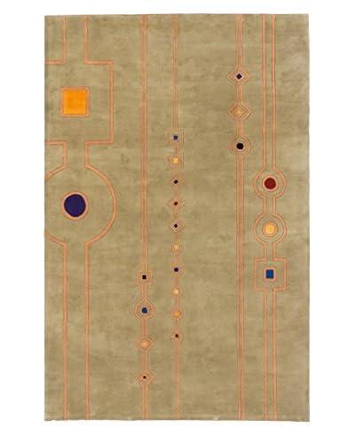 Handmade Pierrot Wool Rug, Khaki, 5' 2 x 8'