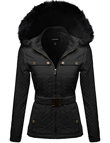 Quilted Fur Lined Luxurious Parka W Detachable Hood Black Size M