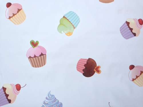LARGE CREAM CUPCAKES CUP CAKE PVC OILCLOTH VINYL FABRIC KITCHEN CAFE BAR TABLE WIPECLEAN PICTURE TABLECLOTH PER METRE 100CM X 135 CM BRAND NEW CUT TO ORDER