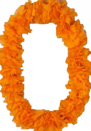 [Forum Novelties Bright Orange Flower Deluxe Hawaiian Lei] (Hawiian Costumes)