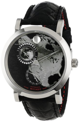 Movado Men's 0606566 Red Label Planisphere w/ Black Alligator Leather Strap Watch
