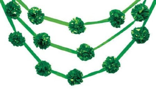 Creative Converting Glitz 13.5' Long Green Pom Pom Garland Hanging Decoration