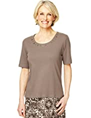 Classic Collection Pure Cotton Metal Disk Embellished Neckline Top with Stay New™