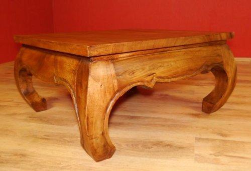 Großer Opiumtisch in braun. Beistelltisch bzw. Couchtisch bzw. Massivholztisch. Kolonialstil, Möbel asiatisch (86cm x 86cm)