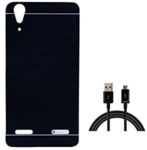 Tidel Black Durable Aluminium Brushed Metallic Back Cover For Lenovo A6000 Plus With USB DATA CABLE