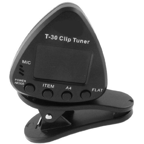 T-30 Lcd Display Flat/A4 Guitar Mic Vibration Clip Digital Tuner Black