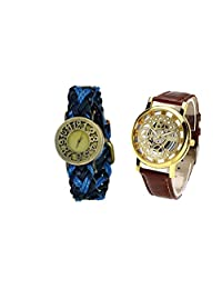 COSMIC COUPLE WATCH- MULTICOLOR DESIGNER ANALOG WATCH FOR WOMEN AND BROWN SKELETON WATCH FOR MEN- PACK OF 2