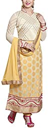 Shree Sai Exports Women's Georgette Unstitched Dress Material (Yellow)