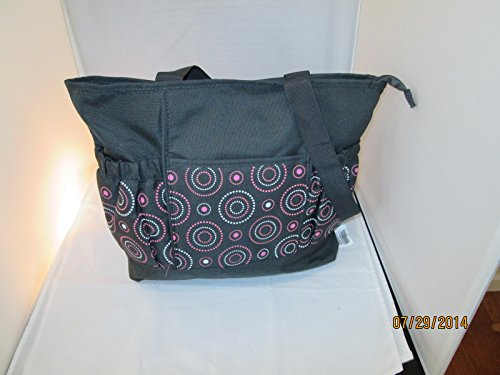 Tender Kisses Circle Diaper Tote Gray/pink Circles - 1