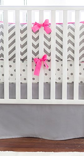 New Arrivals Crib Bed Set, Zig Zag in Slate with Bright Pink Trim
